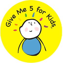 Give Me 5 For Kids Logo - A yellow circler logo, with the organisation name on the top half, and a drawing of a kid center